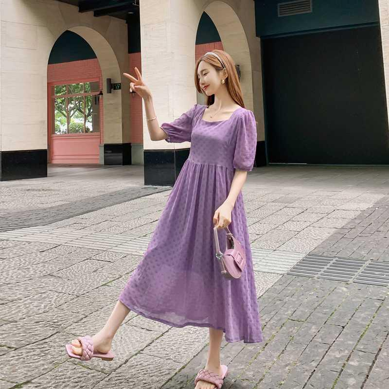 8032# Maternity Clothes Summer Solid Color Short Sleeve Easy Matching Loose Stylish Dress for Pregnant Women Mom Dress