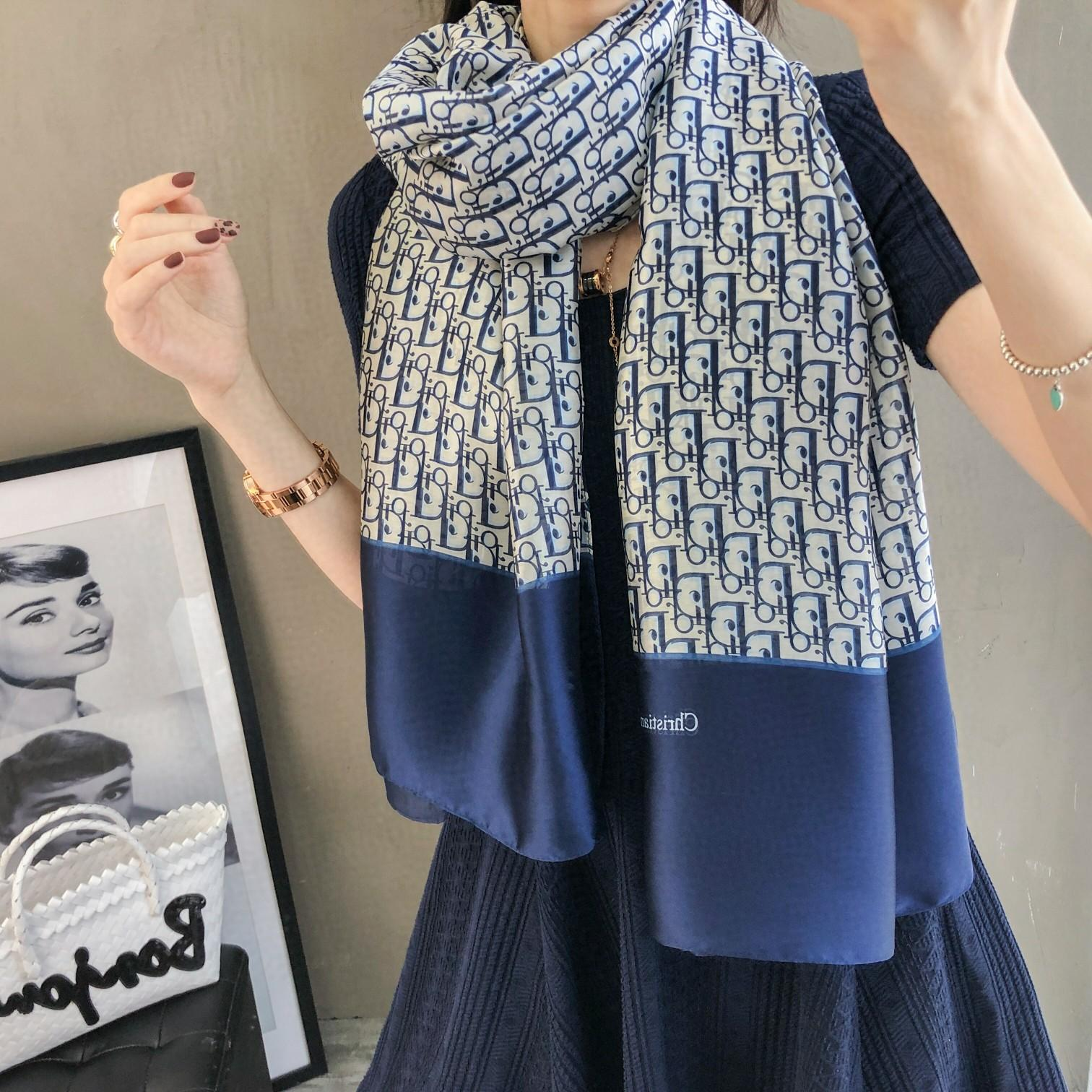 Neue Luxus-Eis einziger Chiffonschal Designer Marke 180 * 90 Top vier Jahreszeiten Reise Schal weich langer Druck Schal Großhandel T9 Frauen