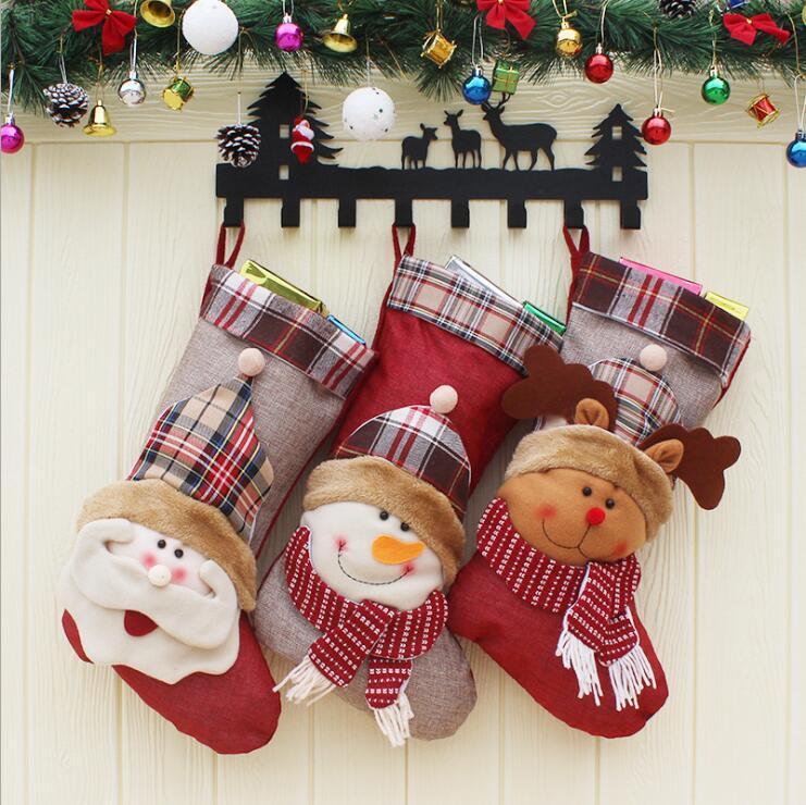 Decoración de Navidad que almacena el saco de regalos de Santa muñeco de nieve 3D reno caramelo bolsa de regalo colgante gota Adornos Decoraciones para el hogar LXL444