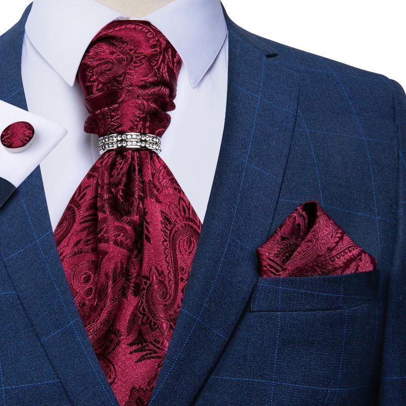 Plata Paisley hombres de seda de lujo Ascot grupo de unión del banquete de boda de los hombres del pañuelo corbata pañuelo anillo corbata Gemelos Establece DiBanGu