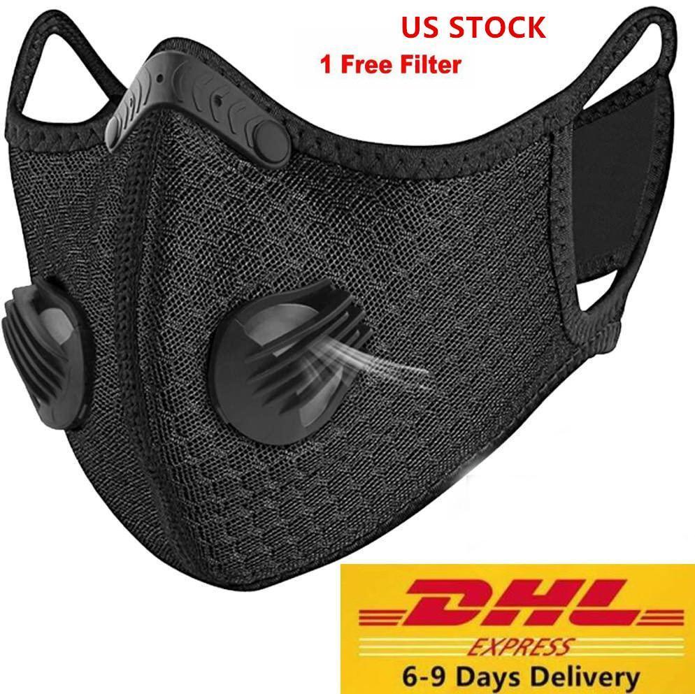 Nuovo design di lusso maschera viso in bicicletta carbone attivo con filtro PM2.5 Anti-Pollution Sport in esecuzione maschera di protezione di formazione di polvere