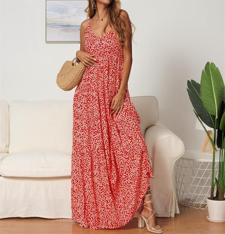 캐주얼 드레스 슬립 드레스 여자 꽃 프린트 Boho 여름 민소매 민소매 우아한 파티 맥시 여성을위한
