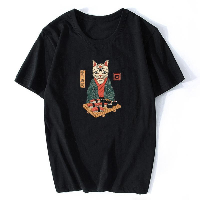 Lustige nettes Japan Sushi-Katzen-Druck-T-Stücke Männer-T-Shirt Graphic Kawaii schwarze T-Shirt Männer Top Slim Fit Ulzzang Cartoon T-Shirt Mujer