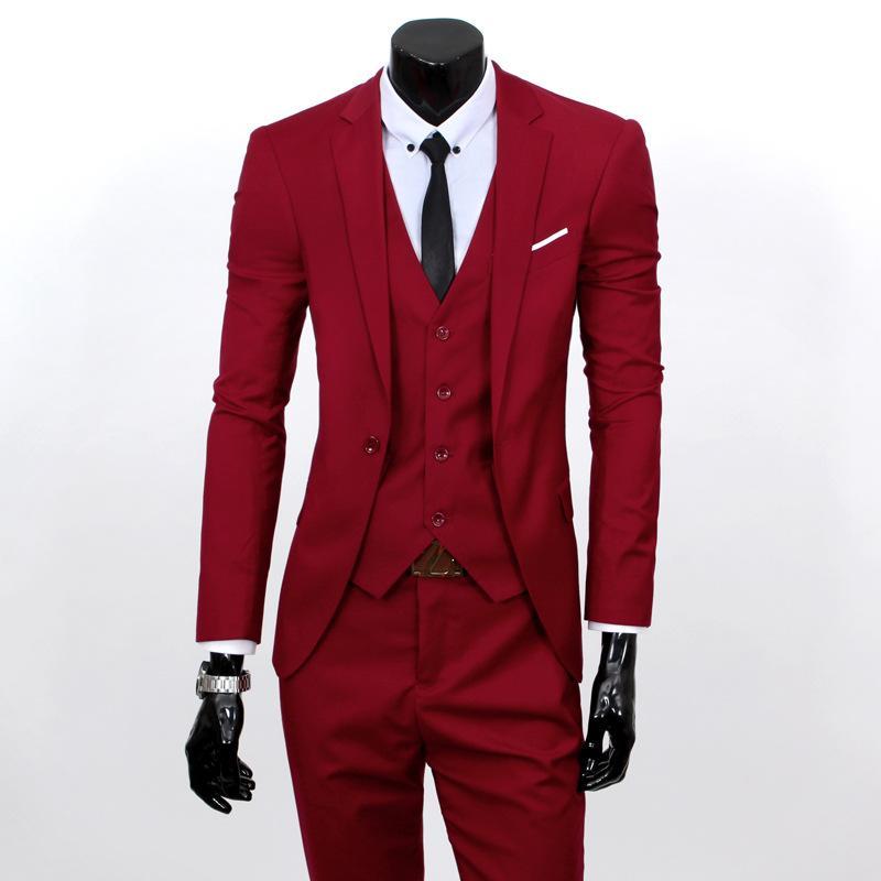 Artı boyutu 5XL 6XL Mens Suit Katı Renk Biçimsel İş Tek Düğme 3-Adet Suit Slim Fit Üç Parçalı Düğün Erkekler Suits