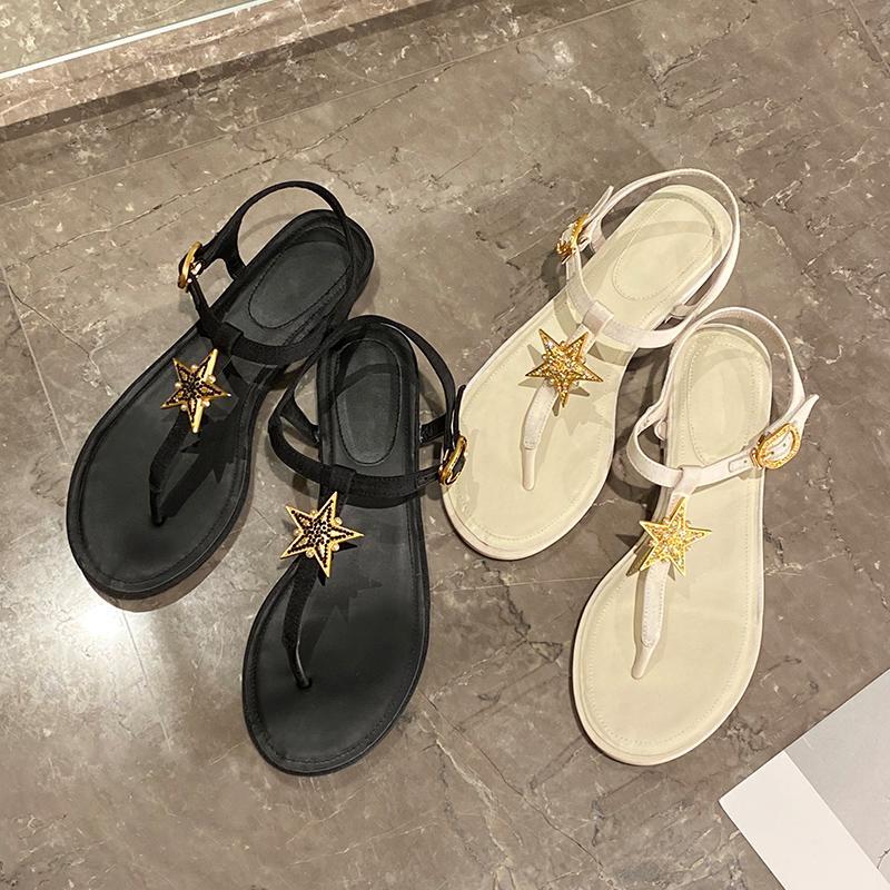 الصنادل مشبك T حزام المرأة المفتوحة تو الصيف الوجه بالتخبط ثونغ أسود منخفض كعب شاطئ أحذية تصميم قماش أبيض