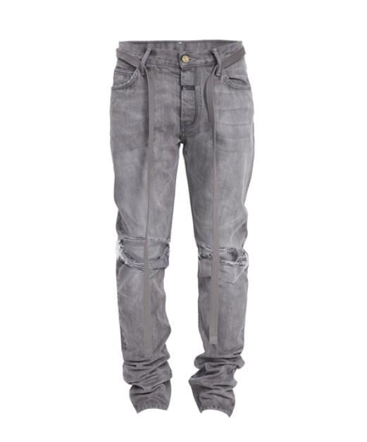 Высокое качество 4 сезона Темно-серый цвет Ripped Side Zipper Ribbon Омывается джинсы моды для мужчин