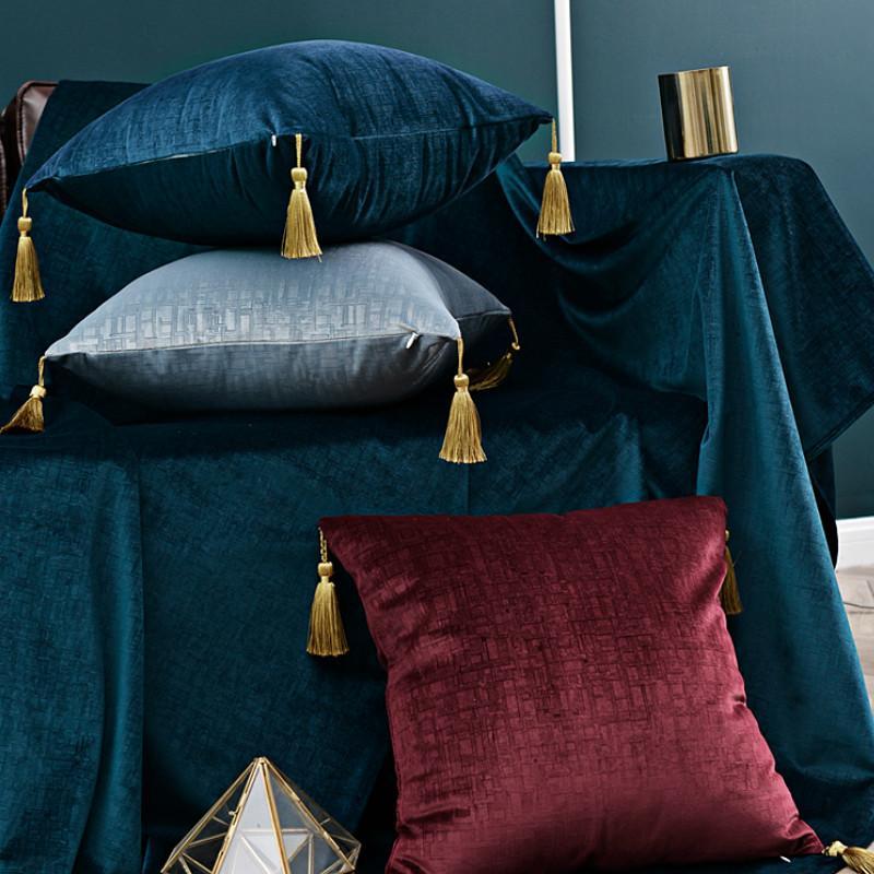 DUNXDECO Kissenbezug Kissenhüllen Moderne künstlerische Royal Luxury Velvet Geometric Texture Hochrangigen Sofa Coussin T200624