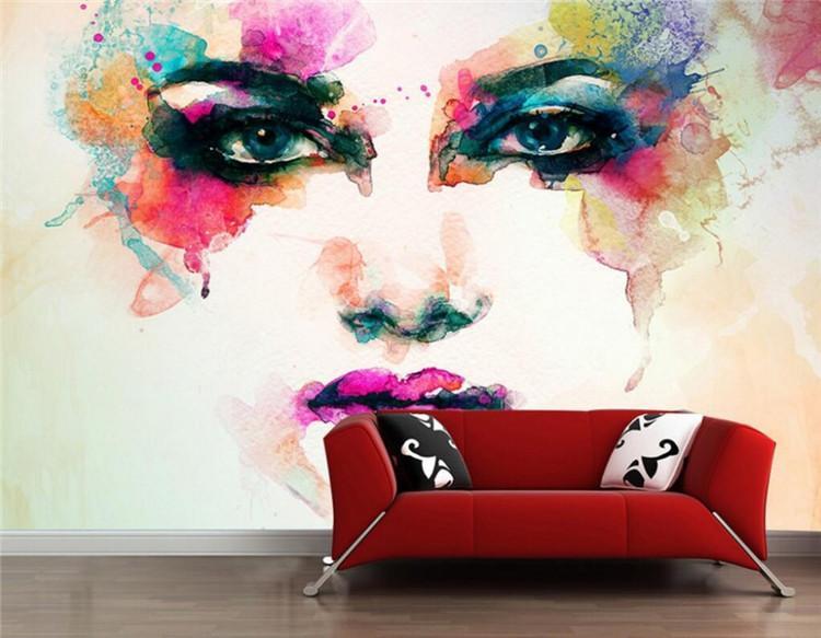 Avrupa duvar sanatı Fotoğraf duvarları 3 d için büyük bir duvar ev dekorasyon duvar kağıdı 3D suluboya karakterleri grafiti