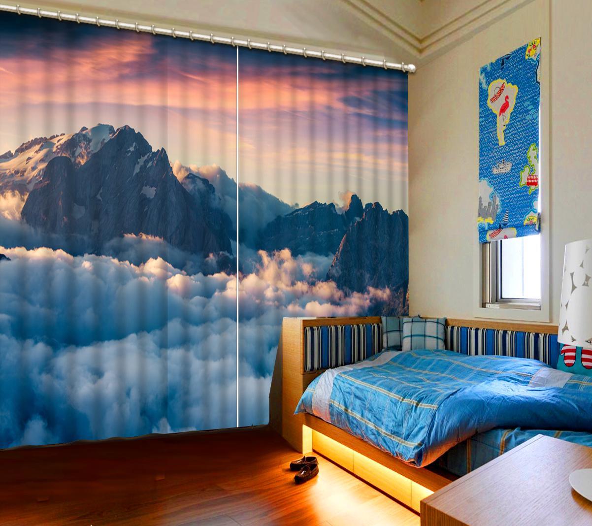 Cortina 3D parede quebrada Cachoeira para sala de estar Quarto Partition Decoração moderna cortinas Blackout parede decorativos
