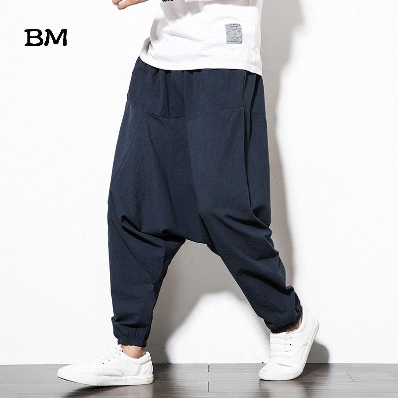 Algodón Lino Cruz-pantalones sueltos japoneses Harajuku Joggers Pantalones Hip Hop Harem de la pierna ancha pantalones holgados del tamaño grande 0px8 #