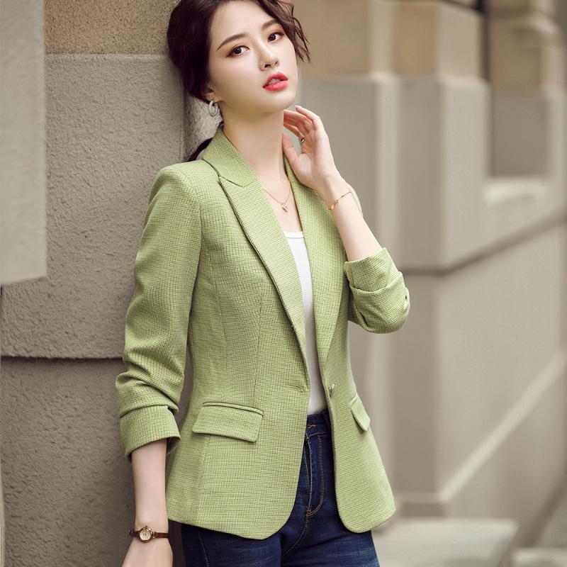 2020 Automne Hiver Blazer Veste Manteau Casual fille d'abricot vert de Slim femmes Jaune café Plaid Blazer avec des poches Taille S-4XL