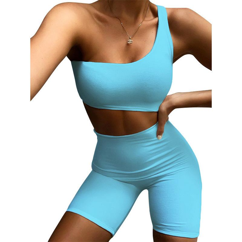 Womens jumpsuits Solid Color Buttocks Short Sports jumpsuits summer fashion casual One Shoulder women rompers