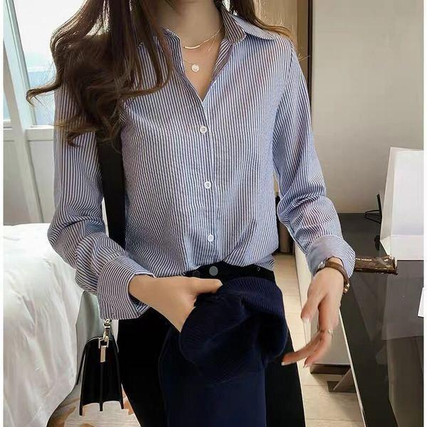 j27r3 printemps et en automne à manches longues 2020 nouvelle mode féminine grande taille chemise minceur Top chemise rayée mode féminine en vrac Haut