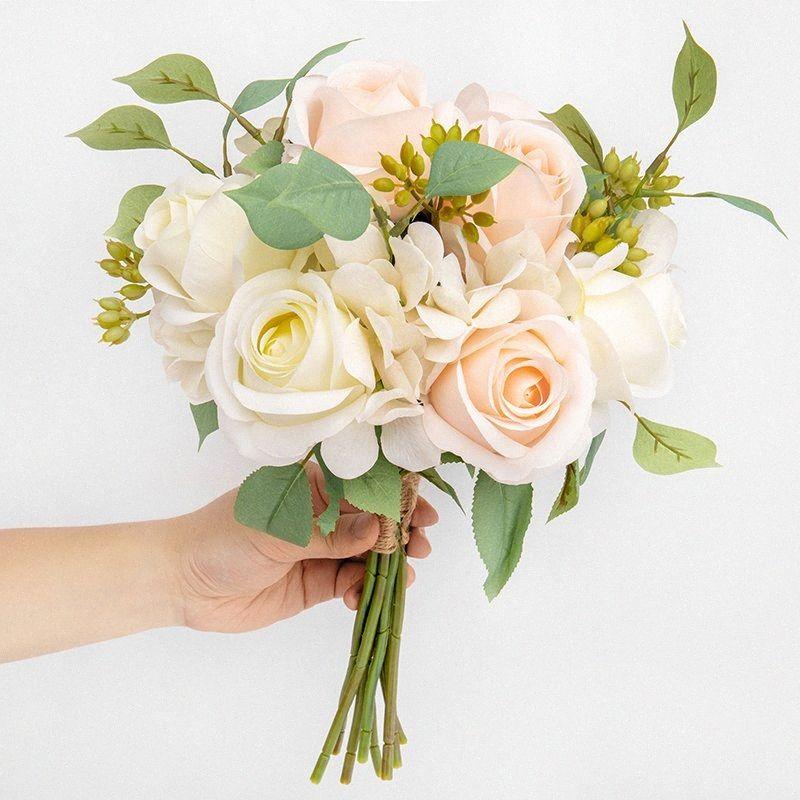 1Pc Fleurs Artificielles Faux Bouquet Home Decor Soie Rose Mariage Extérieur Fête