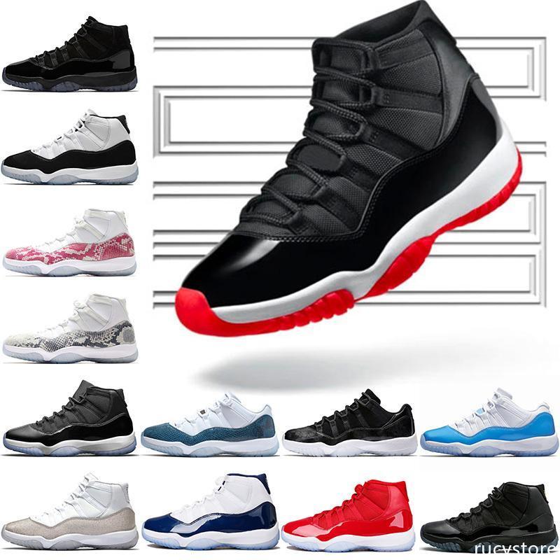 Zapatos de baloncesto 11 Bred diseñador de los hombres de las mujeres 11s del casquillo metálico de plata 45 Concordia y vestido Gamma Azul para hombre de las zapatillas de deporte entrenadores deportivos 5.5-13