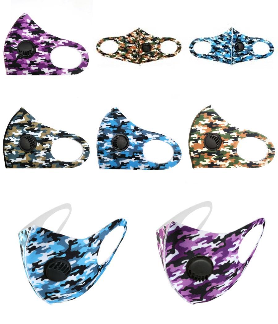 Yıkanabilir Yüz Maskeleri Yeniden kullanılabilir Mavi Pembe PM2.5 Kalın 2 Karbon Filtre Koruyucu Sünger Tasarımcı Baskılı Vana Maskesi Nefes Maske # 508 # 839