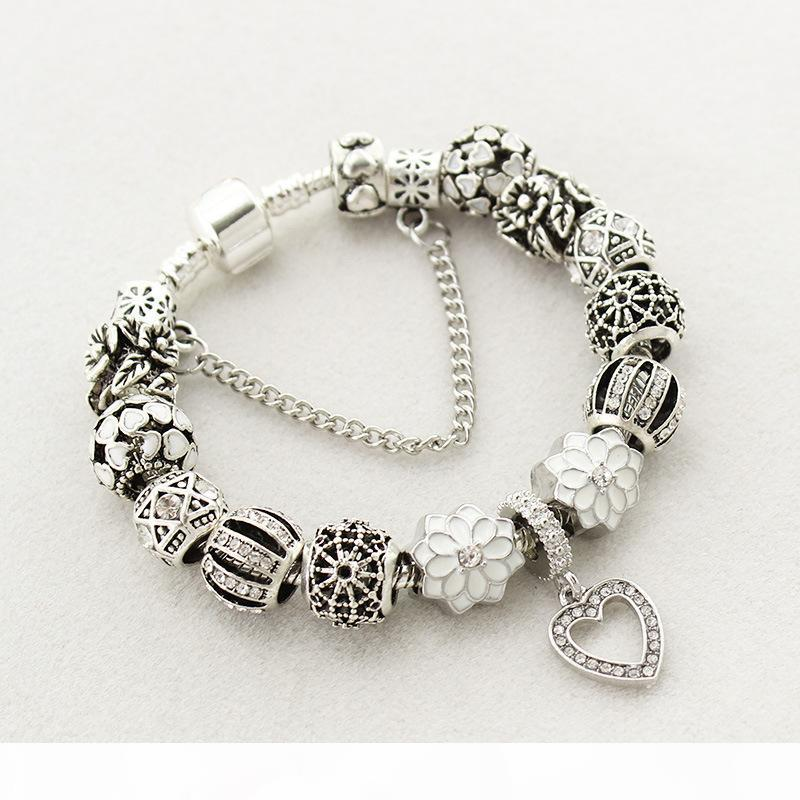 Fit Pandora Fábrica prata banhado coração de vidro de cristal grânulos de prata branco pêssego coração contas pulseiras pulseira amor Pétala Pingente