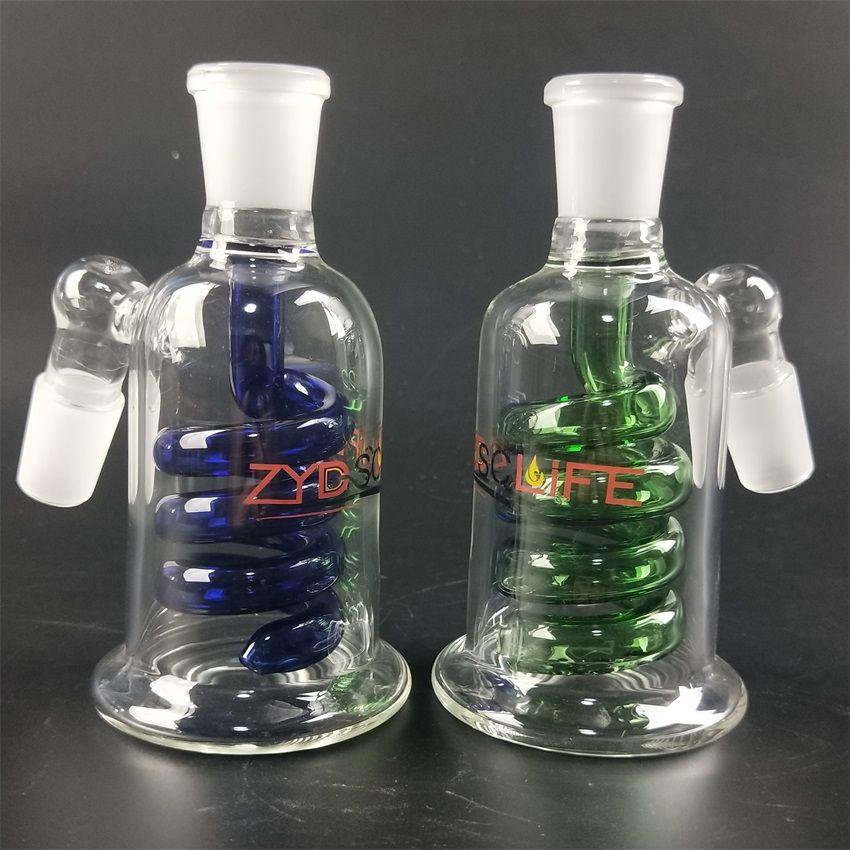 13 cm Verde Azul 14mm reciclador masculina cenizas receptor de 45 grados percolador espiral filtro de burbujeo adaptador de Ash Catcher para el vidrio bong chicha