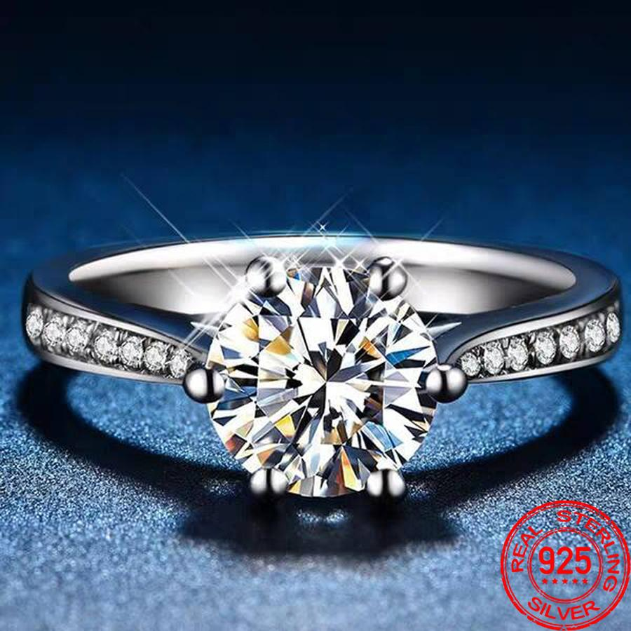 Classic Wedding Rings for Women 100% Solid 925 Sterling Silver Jewelry Finger Ring 1ct Zircon CZ Diamond Ring Gift R016