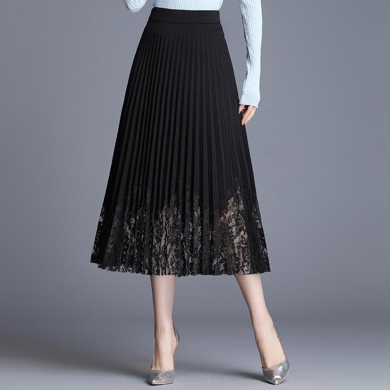 cintura alta Tm9rb Laço preto saia plissada para o vestido vestido tong Qun crianças rendas das crianças 2019 novo estilo coreano versátil lon forma magro