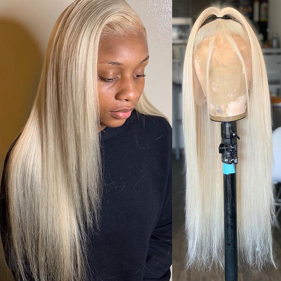 Blond 13x4 Gerade 613 Spitze-Front-Menschenhaar-Perücken brasilianisches Haar Preplucked für schwarze Frauen 150Density Glueless Perücke