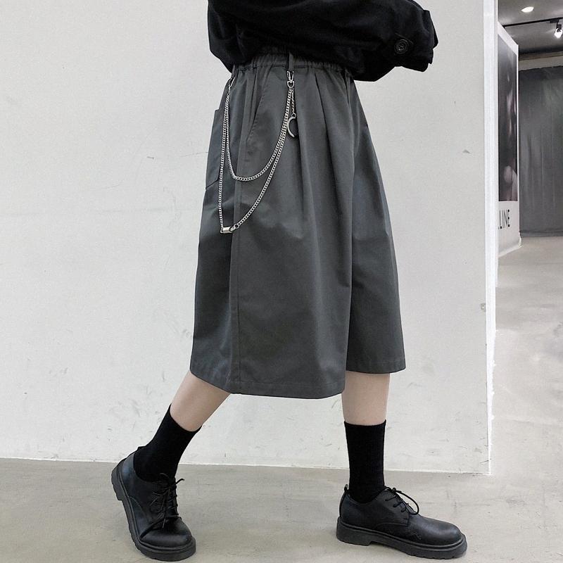3 couleurs Hommes Pendentif Métal Casual taille élastique veau longueur Costume Pantalon Homme Summer Streetwear Hip Hop desserrées Pantalon large jambe mi scZr #