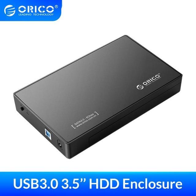 """3.5 인클로저 ORICO 3.5 인치 하드 디스크 인클로저 USB3.0 SATA 하드 디스크 드라이브 외장 HDD 케이스 박스 도구 무료 8TB \ """""""