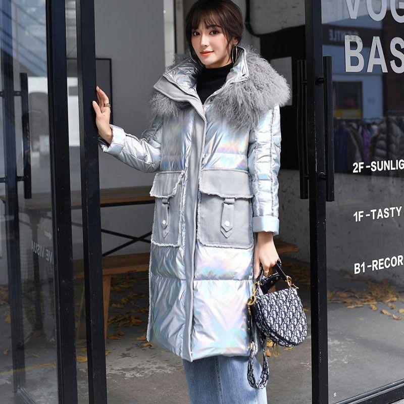 2020 neue Winter-Daunenjacke Frauen Lange Denim Stitching bunte helle Mode Daunenmantel lose Winter-Parka-Jacken Naturfell