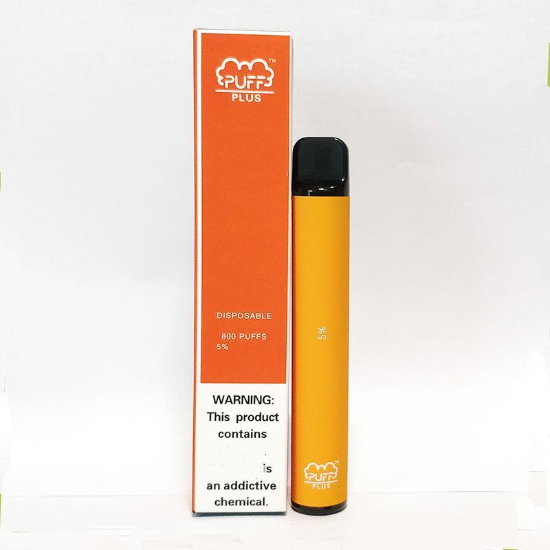 퍼프 플러스 일회용 vape 800 퍼프 전자 담배 3.2ml 용량 막대 550mAh 미리 채워진 80 색 기화기
