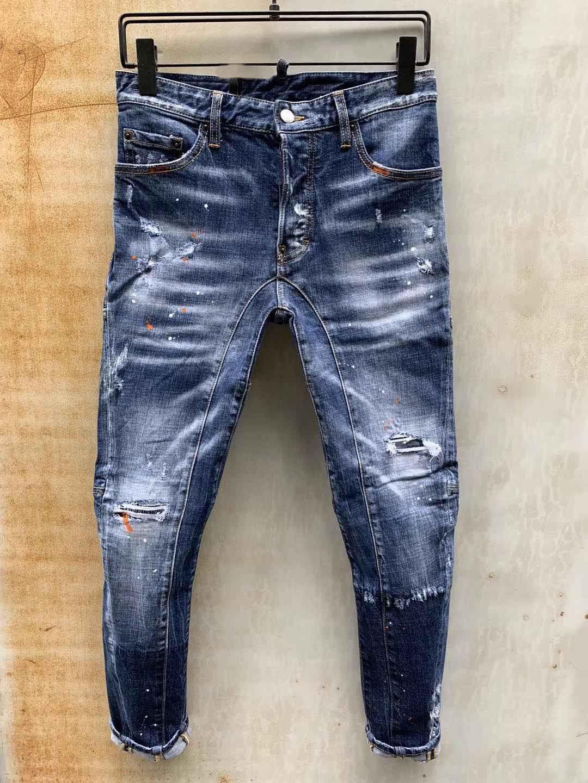 Мужские джинсы дизайнер джинсовой Жан поцарапан Ripped Pants Pour Hommes Мода Марка Байкер Мотоцикл Rock Revival Jeans Высокое качество