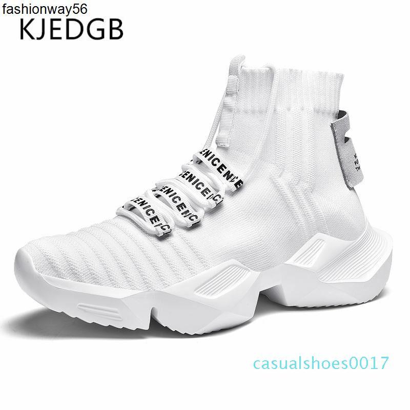 Calzado casual KJEDGB de los hombres de moda de luz de alta la parte superior de la plataforma zapatillas Negro Blanco transpirable masculino gruesa suela c17