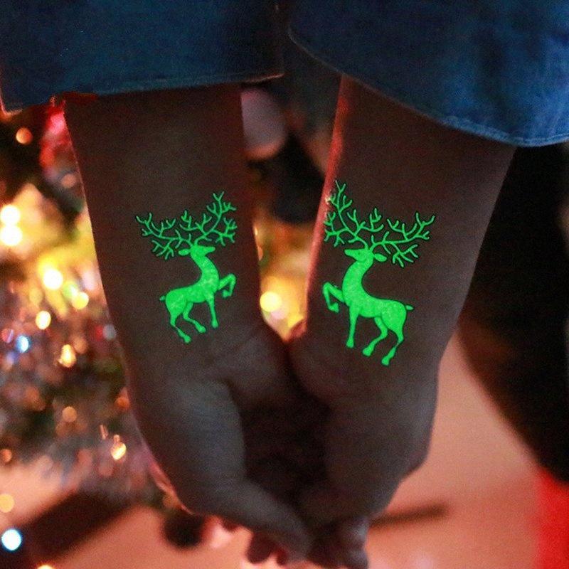 Etiqueta Decoraciones de Navidad Elf árbol muñeco de nieve luminoso tatuaje temporal Navidad Adornos Decoración del Año Nuevo 2019 Noel Diy Fujs #