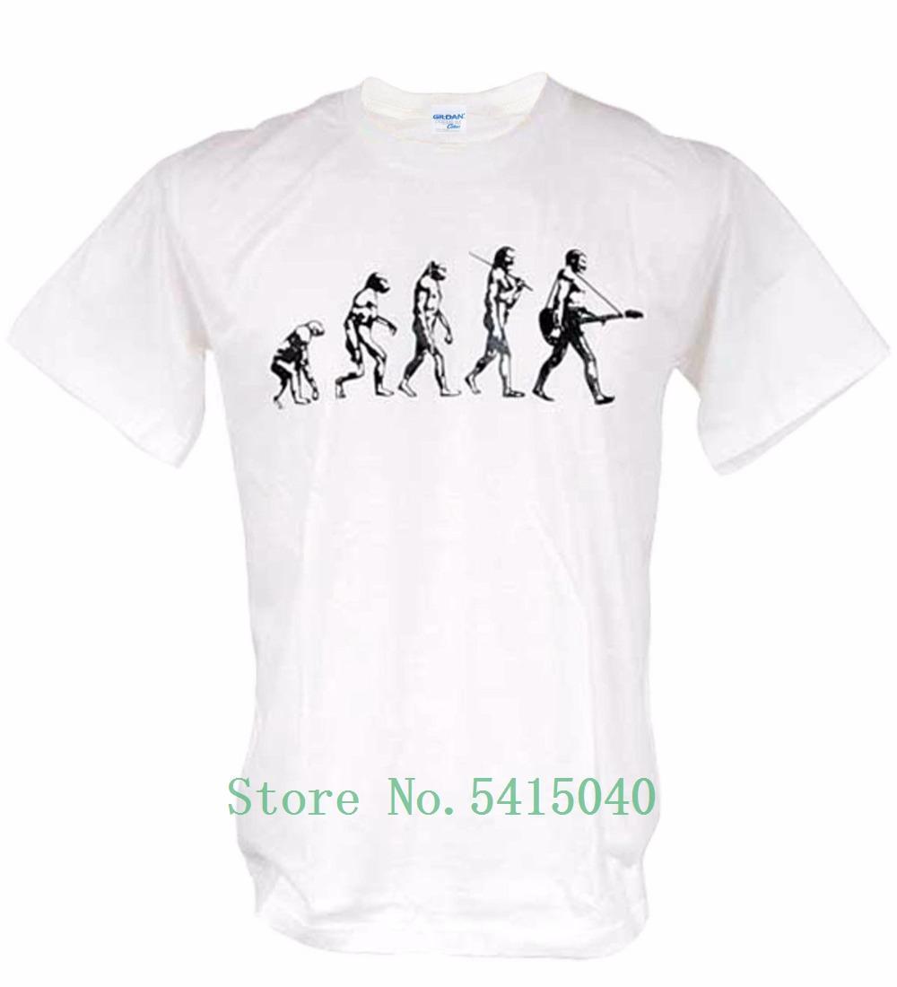 Hombres de calidad superior masculino básico Tops famoso guitarra Evolución de la novedad de la roca del gráfico Vida Banksy hombre de la música Camiseta