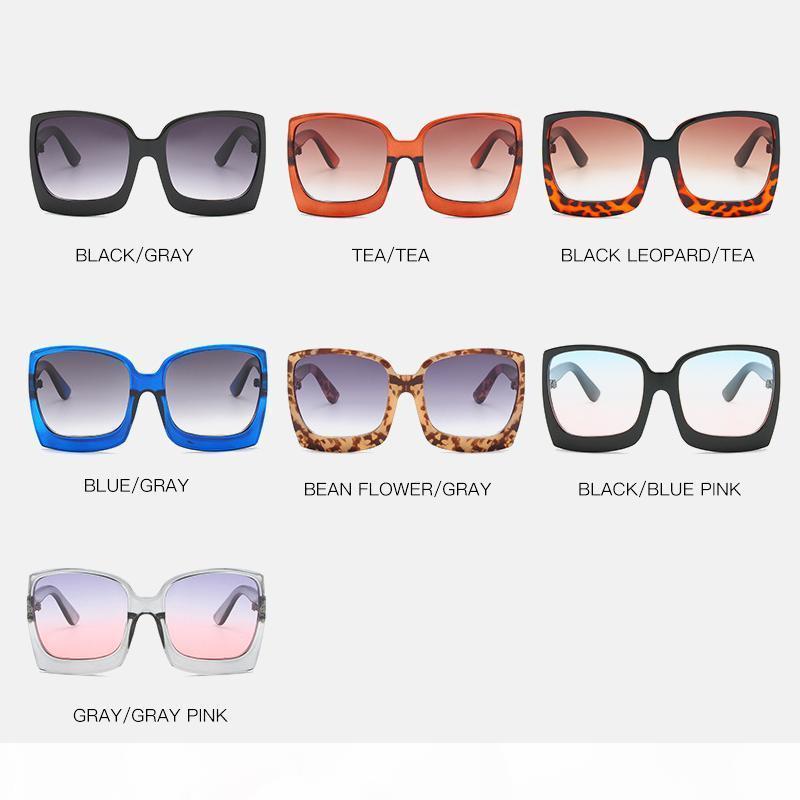 Big фрэйма Frame Градиент Солнцезащитные очки Женщины Негабаритный Солнцезащитные очки Марка Дизайнер Пластиковые Женский UV400 Gafas де золь Mujer Солнцезащитные очки