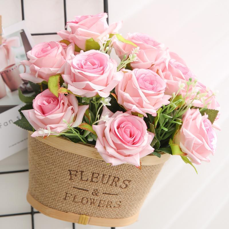yumai 12 Kafa Pembe Güller Buketler Yapay Çiçek Gelin Holding Gül Çiçek Düğün Masa parti Dekor Aksesuar