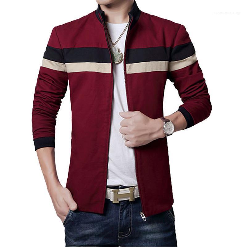 Chaqueta para hombre del remiendo del resorte del otoño de la chaqueta para hombre de la cremallera abrigos con los bolsillos del collar del soporte Manga larga del color del contraste