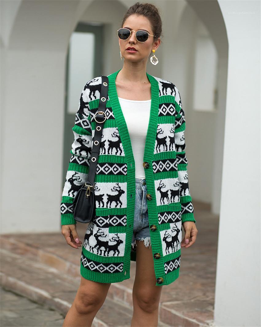 Donna Maglioni allentato casuale Ladies Home Abbigliamento Deer cardigan Donne Maglioni Primavera Autunno a maniche lunghe lavorato a maglia