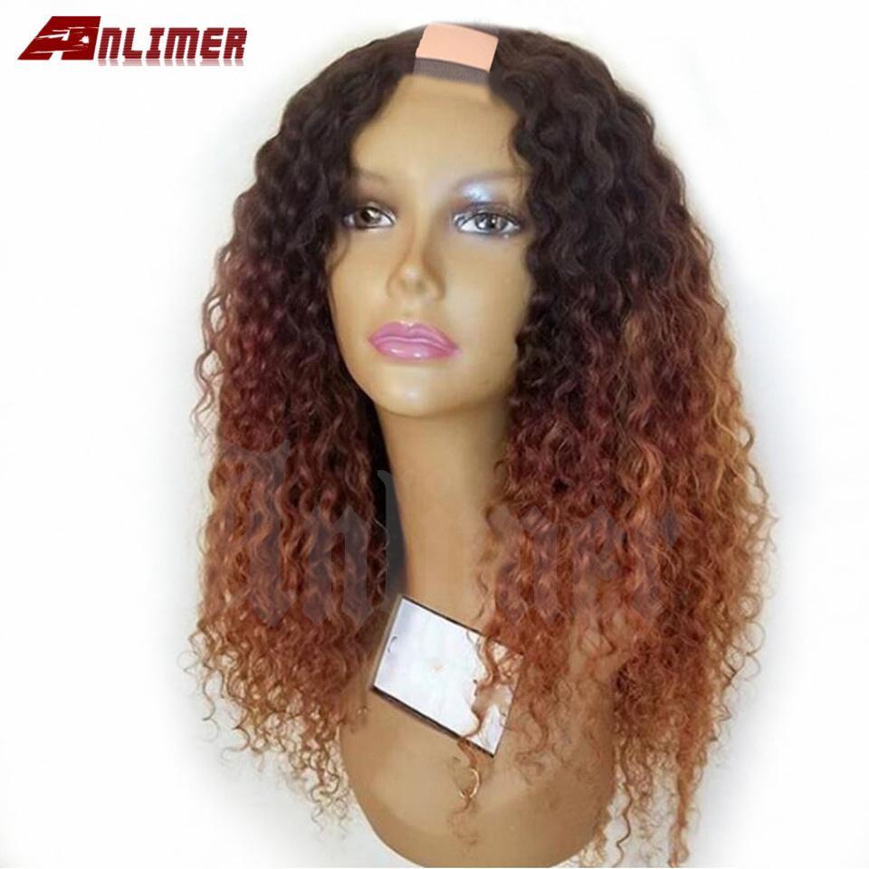Haut 250% Densité Gloupe Curly Ombre Ombre Blonde U Part Perruques de cheveux humains pour femmes noires Brésilien 2 * 4 '' U Partie des cheveux perruque de cheveux Anlimer