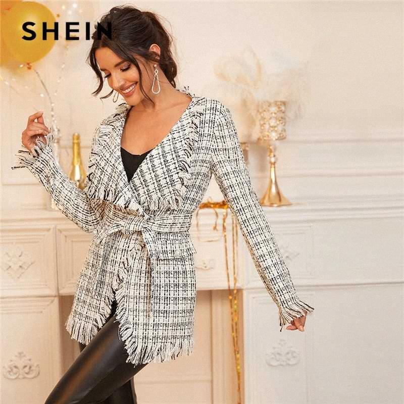Shein Siyah Ve Beyaz Şelale Yaka Tweed Wrap Beit Kadınlar 2020 İlkbahar Uzun Kollu Ekose Yıpranmış Kenar Dış Giyim Vkv3 # ile Elegant Coat
