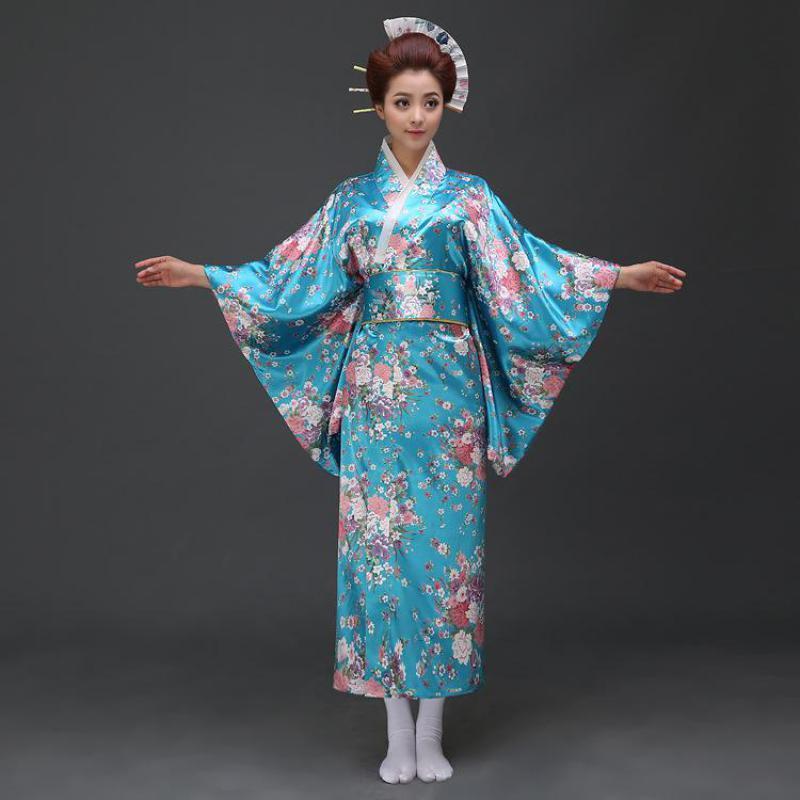 Vintage Japon Kadınlar Biçimsel Robe Geleneksel Kimono Yukata ile Obi Casual Abiye Çiçek Cosplay Cadılar Bayramı Kostüm