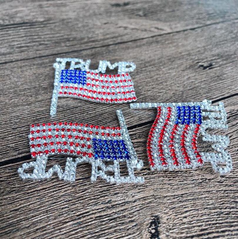 Trump Брошь Pin Алмазного флаг Брошь Rhinestone Письмо Trump брошь Кристалл Badge пальто платье Pins Одежда Ювелирные изделия GGA3593-4