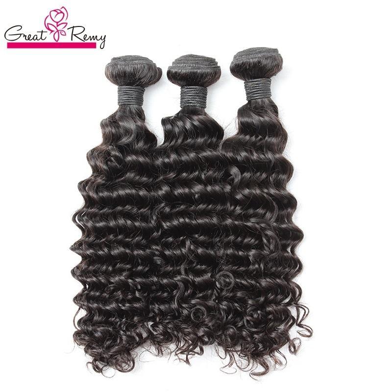 3pcs / lot djupa våg brasilianska mänskliga hårväv dubbla väft obearbetade remy mänskliga jungfru hår buntar förlängningar naturlig färg greater