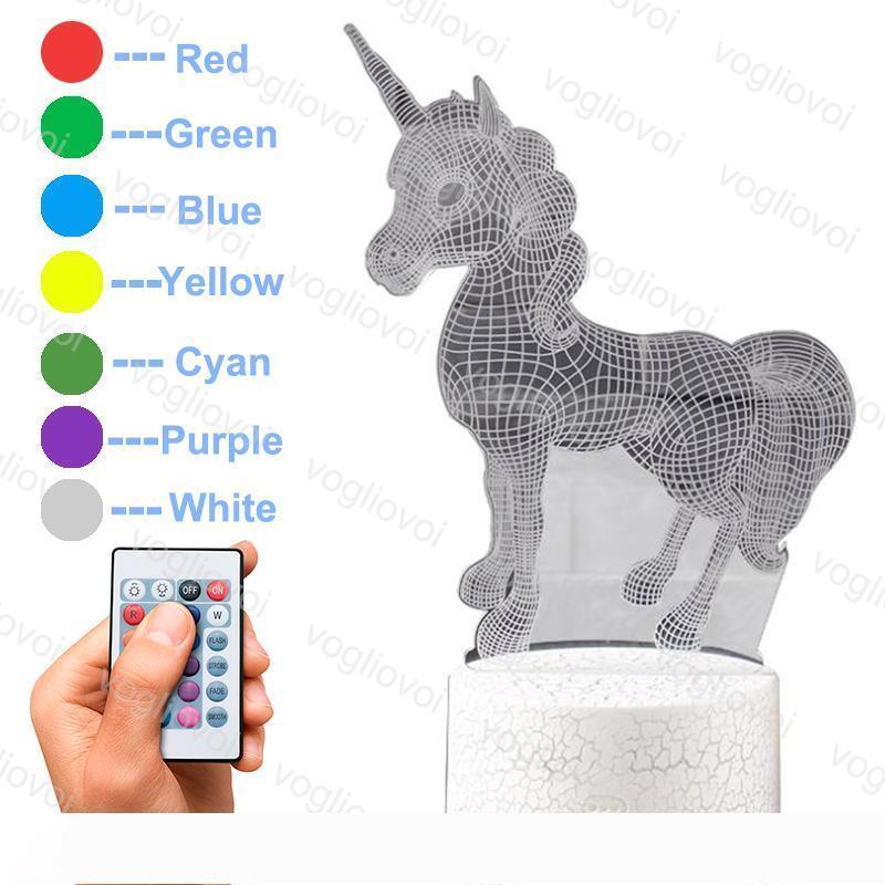 Night Lights Unicorn Serisi Renkli At Başlığı Şekli Sihirli 3D Illusion Lambası 7 Renk değiştirme Masa Lambası LED Ev Dekoratif Akrilik DHL