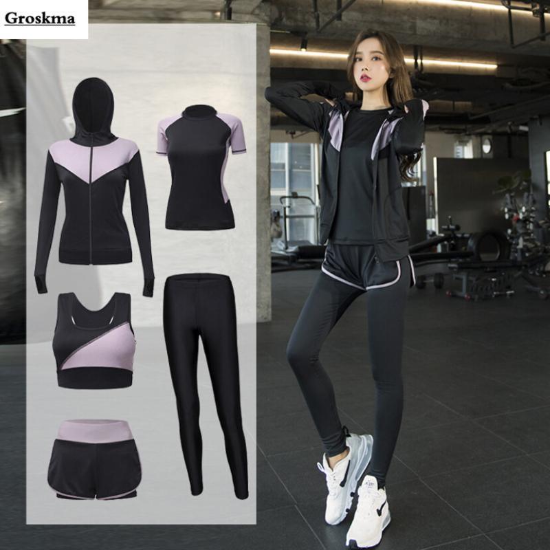 spor giyim setleri çalışan Açık çabuk kuru kadın yoga 5 parçalı set patchwork kat + sutyen + t shirt + şort + pantolon spor salonu giyim