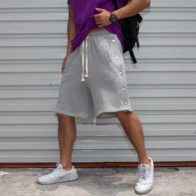 Muscle Fitness High Street aus reiner Baumwolle Nebel Wind Buckle Sports Knopf Shorts Side Fest Grau Männer Frauen / 30