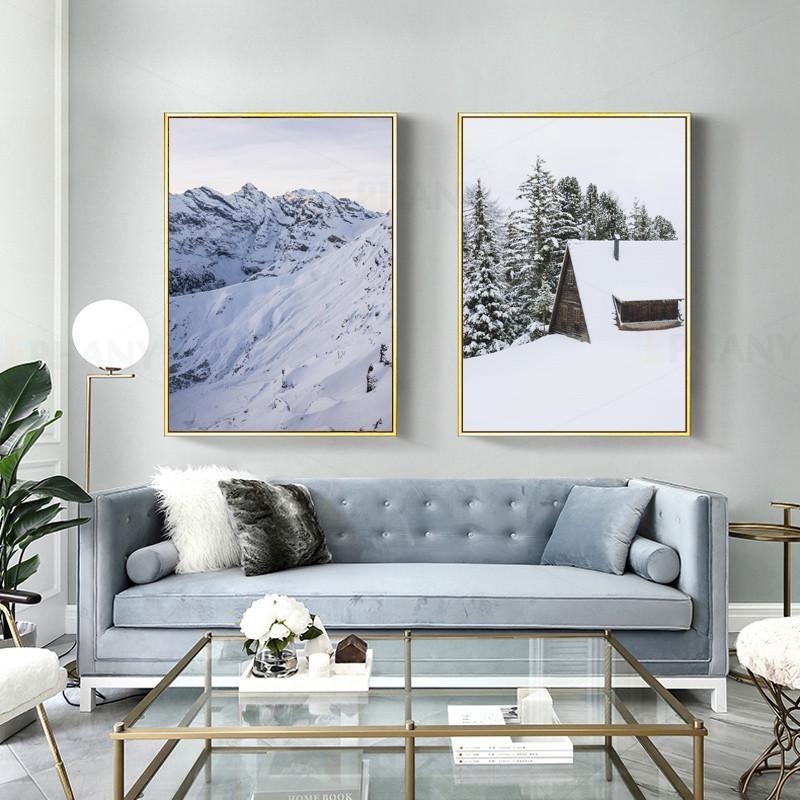 Scandinave Poster Paysage d'hiver neige Mur nordique Art TOILE Peinture Décoration Image pour Salon Décor