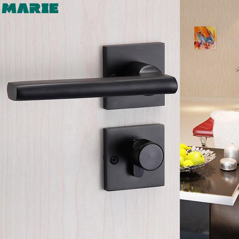 2020 Black Aluminum Door Handle Bedroom Interior Continental Living Room Lever Door Handle Lock Cylinder With Key T200703 From Highqualityok4 147 14 Dhgate Com