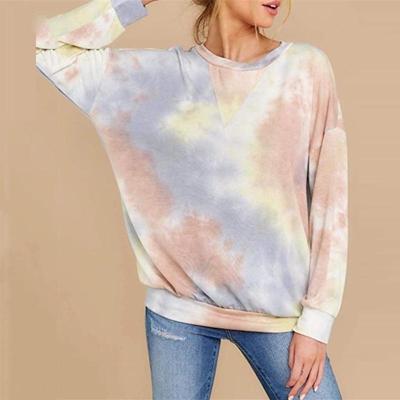 Tie-dye Felpe manica lunga Feitong 2020 Autunno Inverno Felpe oversize delle donne casuali Pullover Camicie Tops