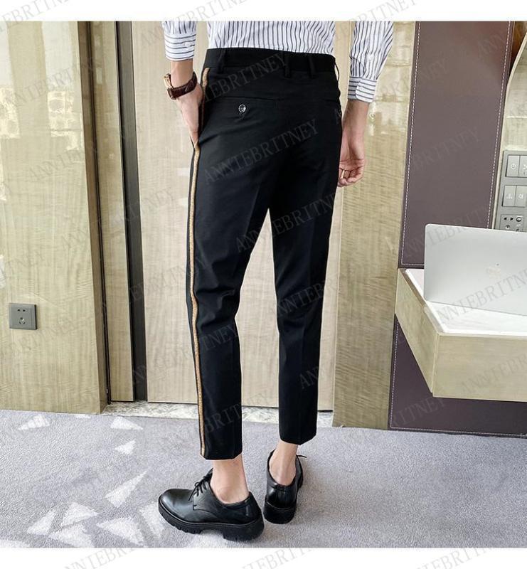 2020 diseños de moda de los hombres pantalones traje a medida de gran tamaño de los hombres adelgazan los pantalones con los pantalones de oro decoración elegante vestido de fiesta de los hombres de