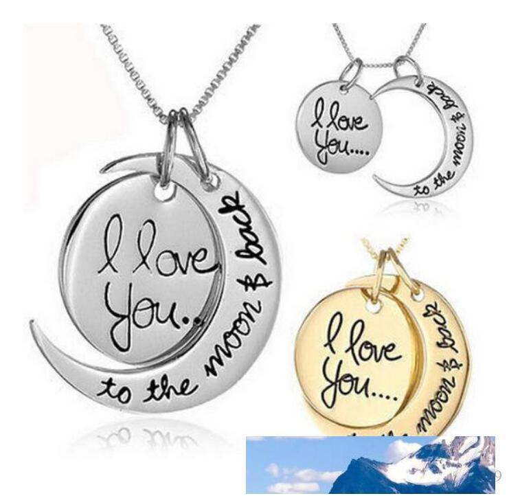Cadena Lunar collar collar Te amo a la luna ya la parte posterior para el amante mamá colgante Enlace hermana Familia